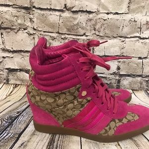 Coach Sneaker Rubber Bottom High Wedges Suede
